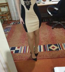 Bež-crna haljina