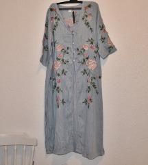 NOVO... haljina kardigan sa izvezenim cvjetovima