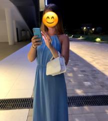 duga plava haljina bez leđa