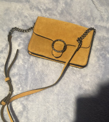 Mango kožna mustard žuta torbica lanac