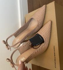 ZARA woven heels with ties, nove s etiketom