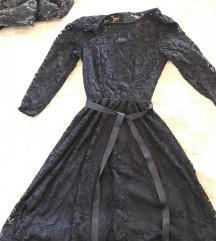 Čipkana tamnoplava haljina