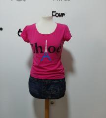 Pink majica s natpisom, veličina M