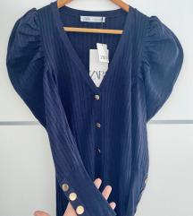 Zara knit uska pletena haljina s puf rukavima