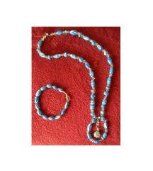 Lančić bijelo-plavi i narukvica