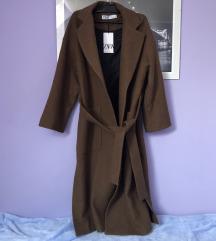 % Zara smeđi dugi vuneni kaput M 38