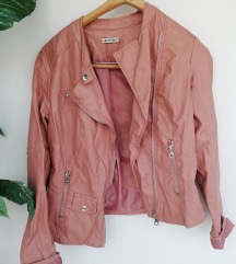 Roza kožna jakna