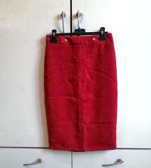 Crvena midi suknja pencil kroja