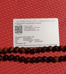 ogrlica crveno tigrovo oko s certifikatom