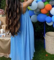 ZARA plava midi haljina novo