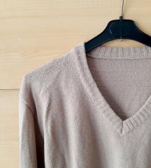 vintage bež pulover V izrez