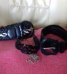 Remeni crni lak, pleteni crno-bijeli i metalni