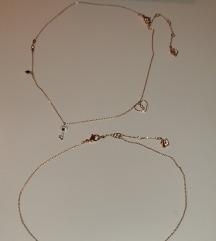 Swarovski rose gold set ogrlica