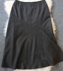 Tamno siva toplija suknja, vuna