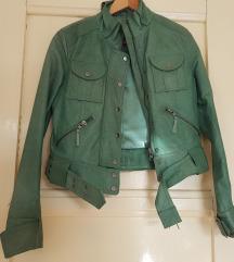 Posebna zelena biker jakna - 100% koža