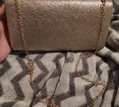 Zlatna clutch torbica