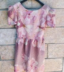 ELFS roza cvjetna haljina, puf rukavi - NOVO