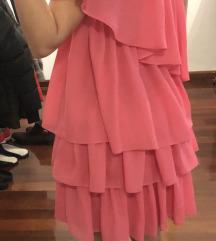 Pink haljina na volane na jedno rame
