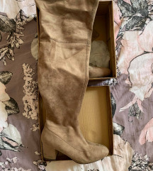 Khaki visoke čizme na petu