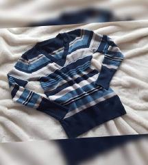Prugasti pulover (viskoza, elastin), kao novi