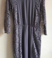 Siva haljina s cipkom