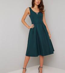 Smaragdno zelena midi haljina