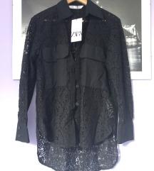 Zara hit crna cvjetna izvezena košulja XS