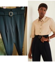 Mango crne poslovne hlače s remenon