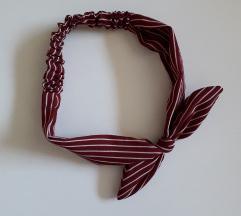 NOVO Tamno crvena traka za kosu