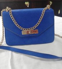 Plava brušena torbica