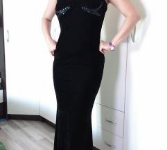 Svečana crna plišana haljina M (sniženo)