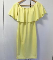 Žuta haljina koja pada na ramena