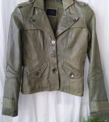 Prava kožna jakna sivo zelena