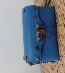 Plava torba od prave kože