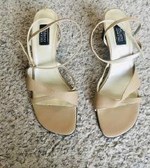 Bež kožne strappy sandale s remeničićima vel 40
