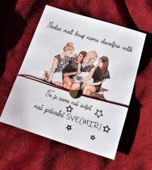 Narukvica - unikat - tekst po želji - kolegice