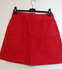 Amisu ženska crvena suknja na kopčanje