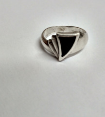 Art Deco prsten srebro i oniks
