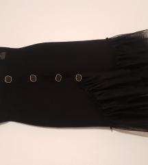 Crna elastična zimska suknja s tilom