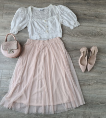H&M točkasta midi suknja