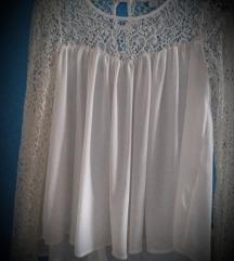 Bijela cipkana bluza