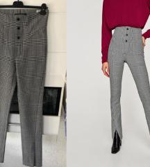 Zara karirane hlače duge s prorezom