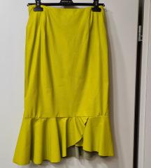 Žuta kožna suknja novo