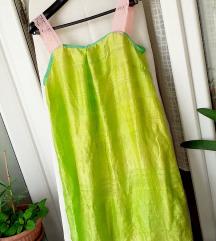 NOVA neon zelena haljina PRAVA SVILA L