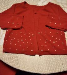 Crvena jaknica sako sa biserima