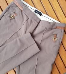 MASSIMO DUTTI zelene uske poslovne hlače