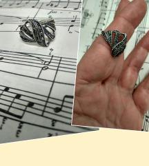 Art Deco prsten sa markezitima, srebro