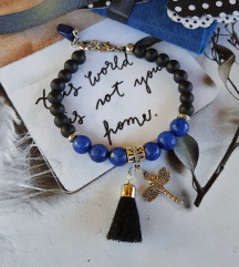 unikatna narukvica - facetirani lapis lazuli