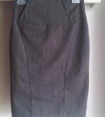 Siva poslovna midi suknja visoki struk