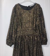 ZARA sjajna zlatna svečana haljina NOVA